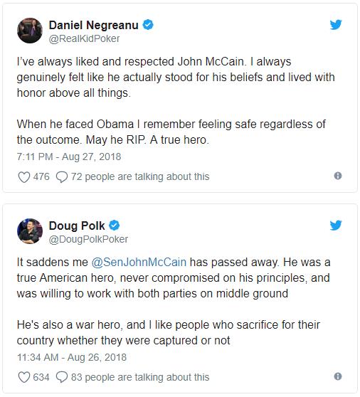 【策略集锦】Daniel Negreanu和Doug Polk也有同一立场的时候:John McCain是位真英雄