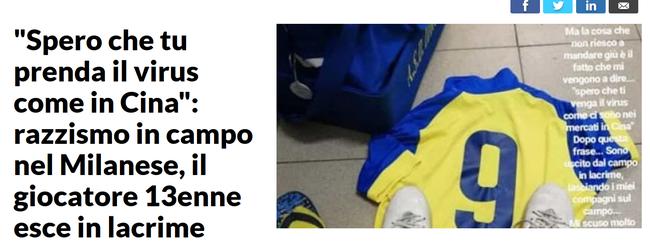 【博狗体育】中国13岁男孩在意大利遭种族歧视:望你染上病毒