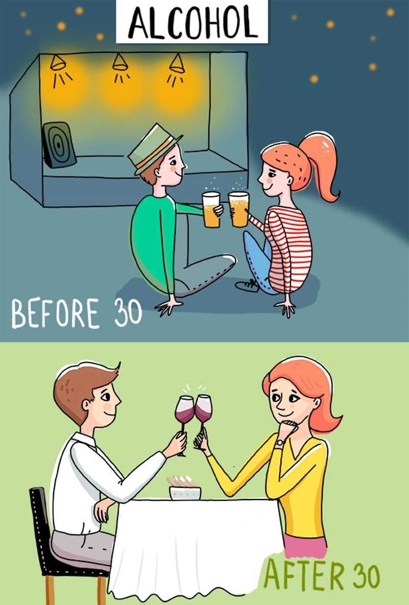 女人30岁前后的区别插画 真实写照引轻熟女共鸣