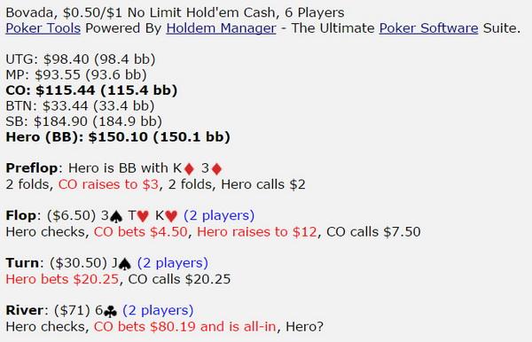 德州扑克K3,翻牌圈拿到两对,河牌圈对手全压,怎么打?