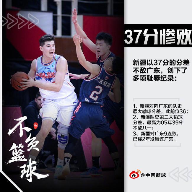 【博狗体育】37分惨败广东队史最惨!新疆面对广东已9连败