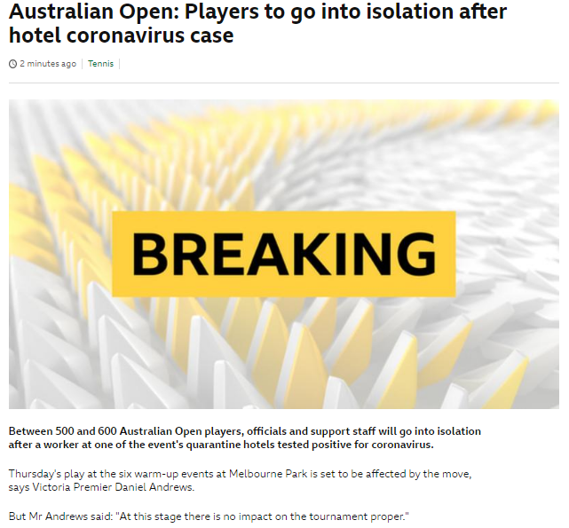 【博狗体育】墨尔本酒店工作人员感染新冠 澳网参赛球员再隔离