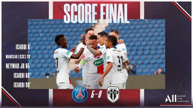 【博狗体育】法国杯-伊卡尔迪戴帽 内马尔破门+造乌龙 巴黎5-0