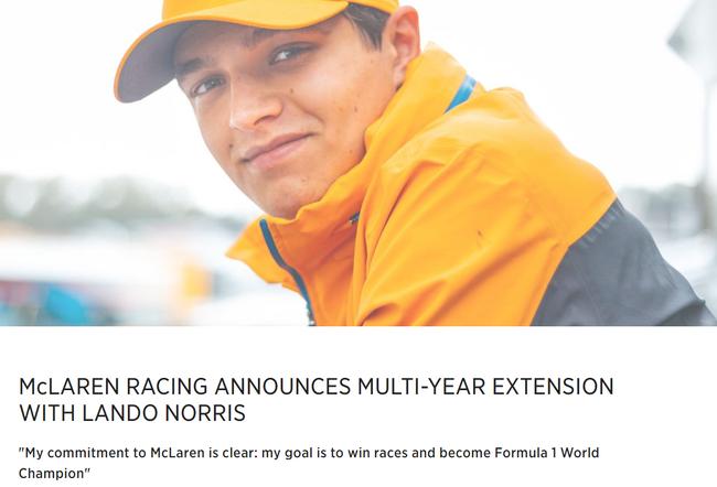 【博狗体育】迈凯伦官宣与诺里斯完成续约 车手承诺夺世界冠军